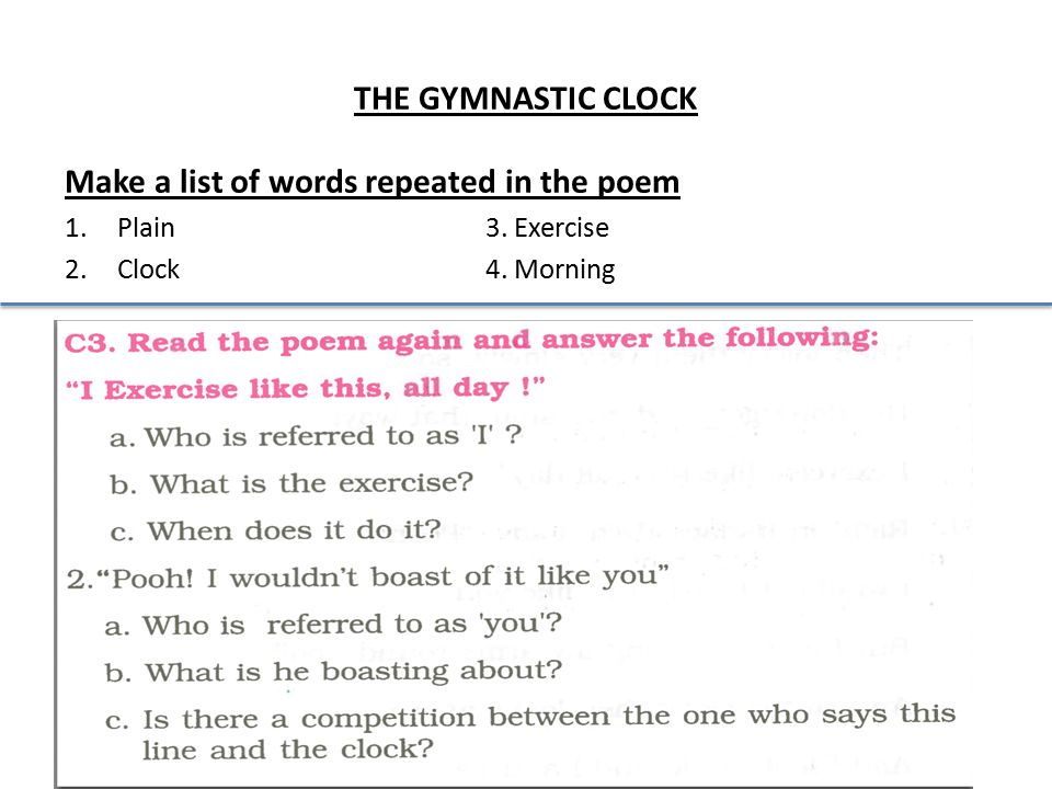 Make a list of words repeated in the poem