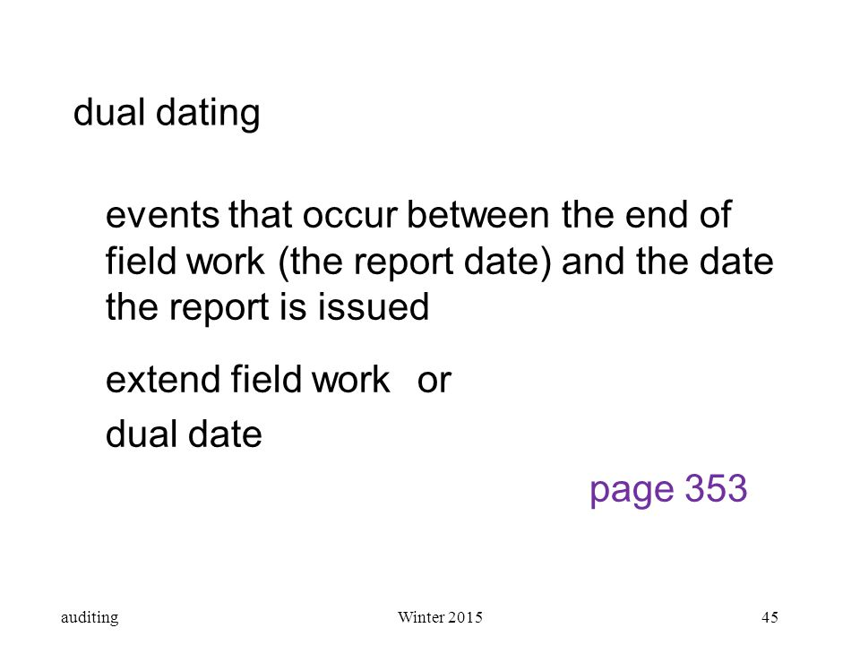 Dual dating audit adalah
