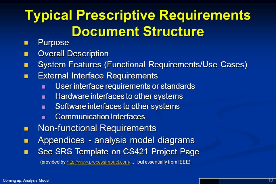 Typical Prescriptive Requirements Document Structure