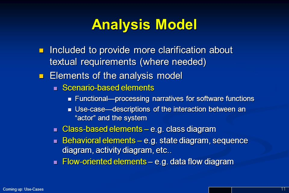 Analysis Model Included to provide more clarification about textual requirements (where needed) Elements of the analysis model.