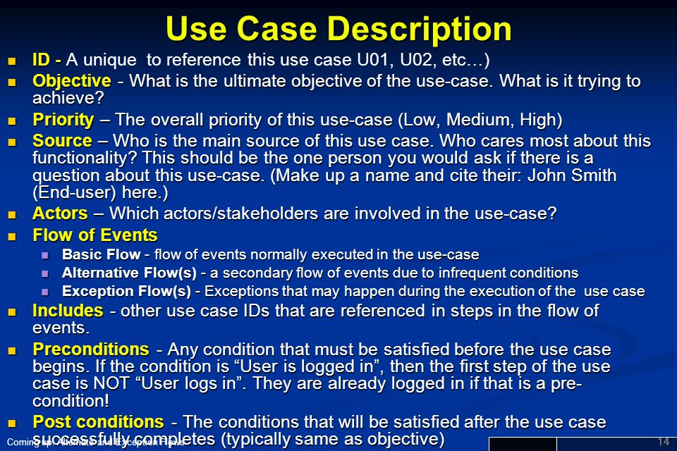 Use Case Description ID - A unique to reference this use case U01, U02, etc…)