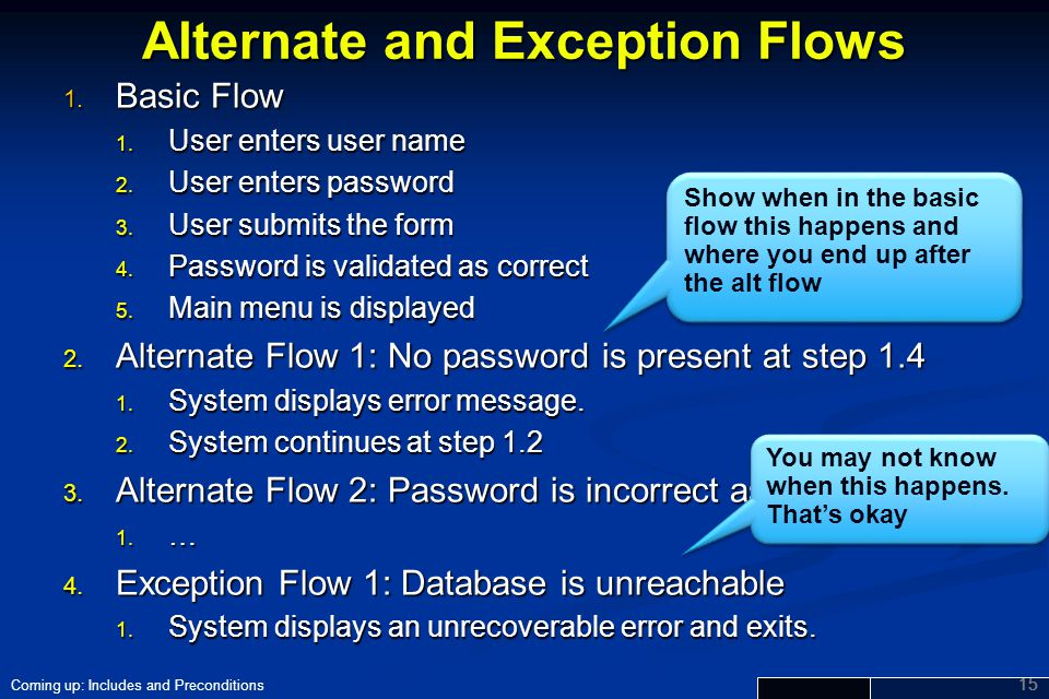 Alternate and Exception Flows
