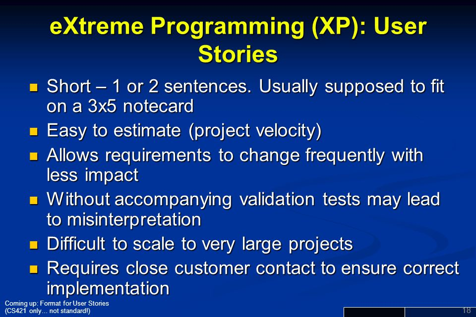 eXtreme Programming (XP): User Stories