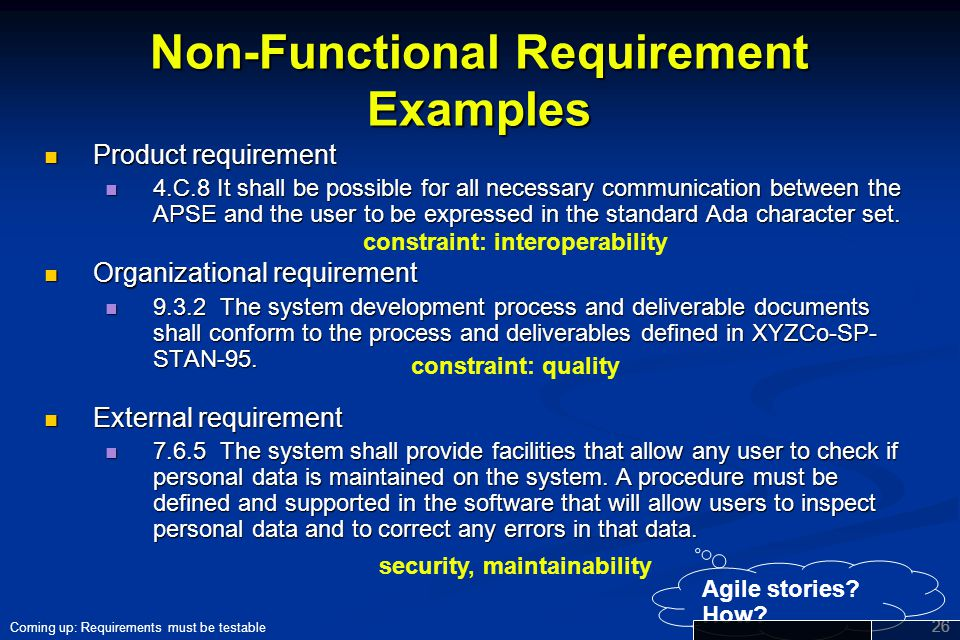 Non-Functional Requirement Examples