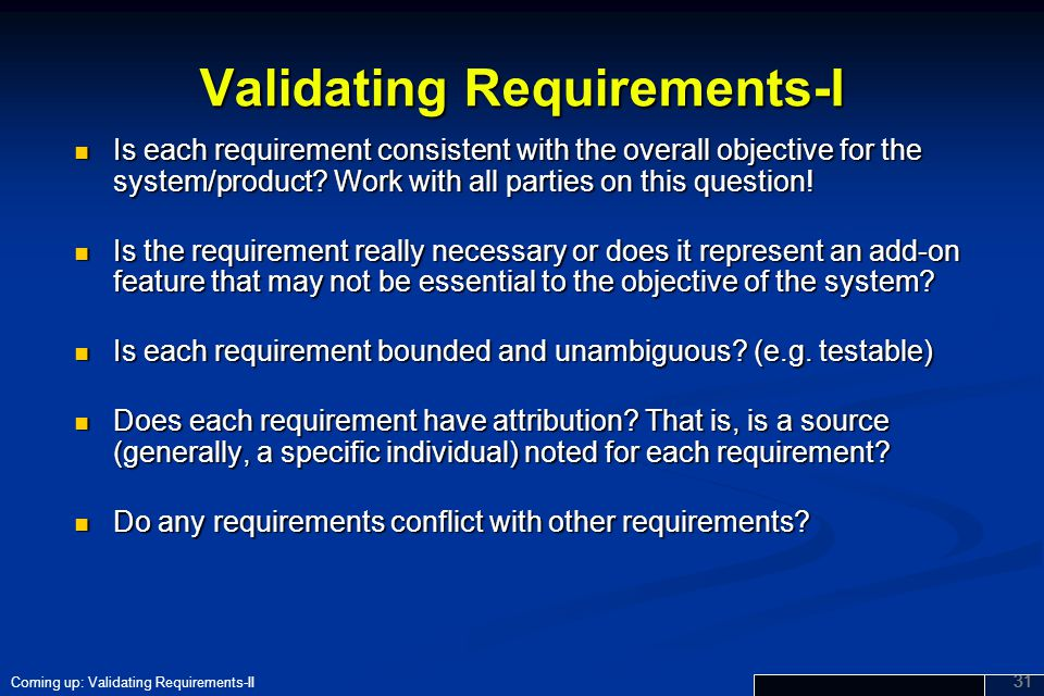 Validating Requirements-I