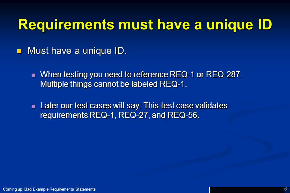 Requirements must have a unique ID