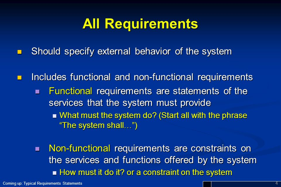 All Requirements Should specify external behavior of the system