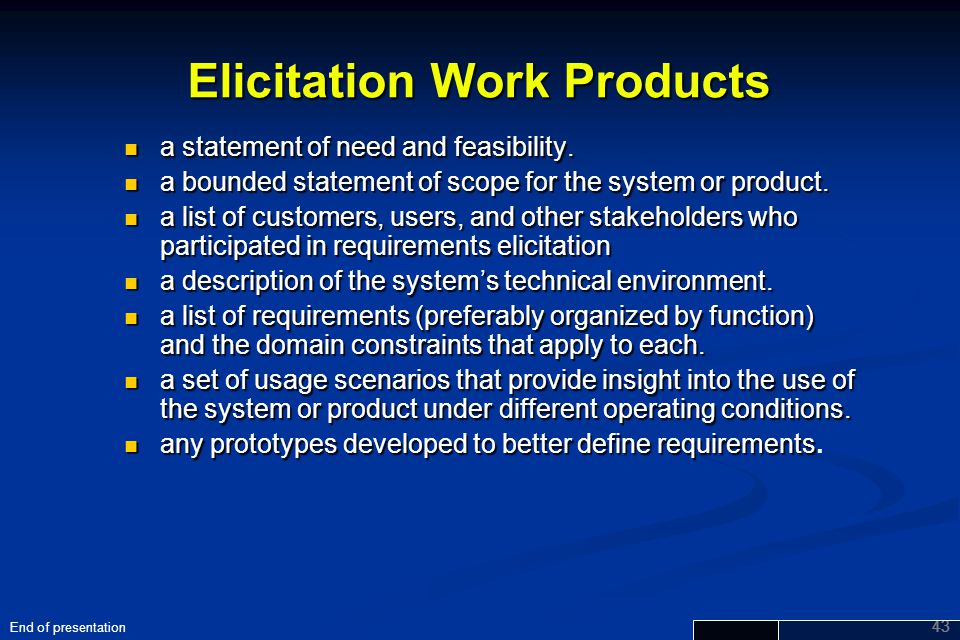 Elicitation Work Products
