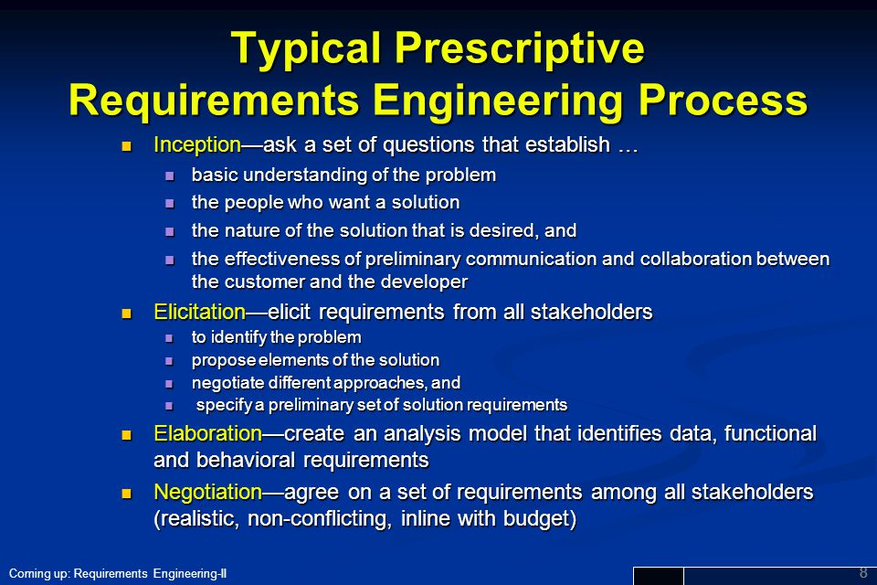 Typical Prescriptive Requirements Engineering Process