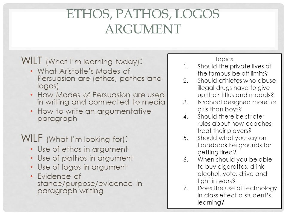 ethos arguments of authority essay Argument essay #4 click here to view essay a deadly tradition (pdf document) sample argument essay #5 click here to view essay society begins at home (pdf document) sample argument essay #6.