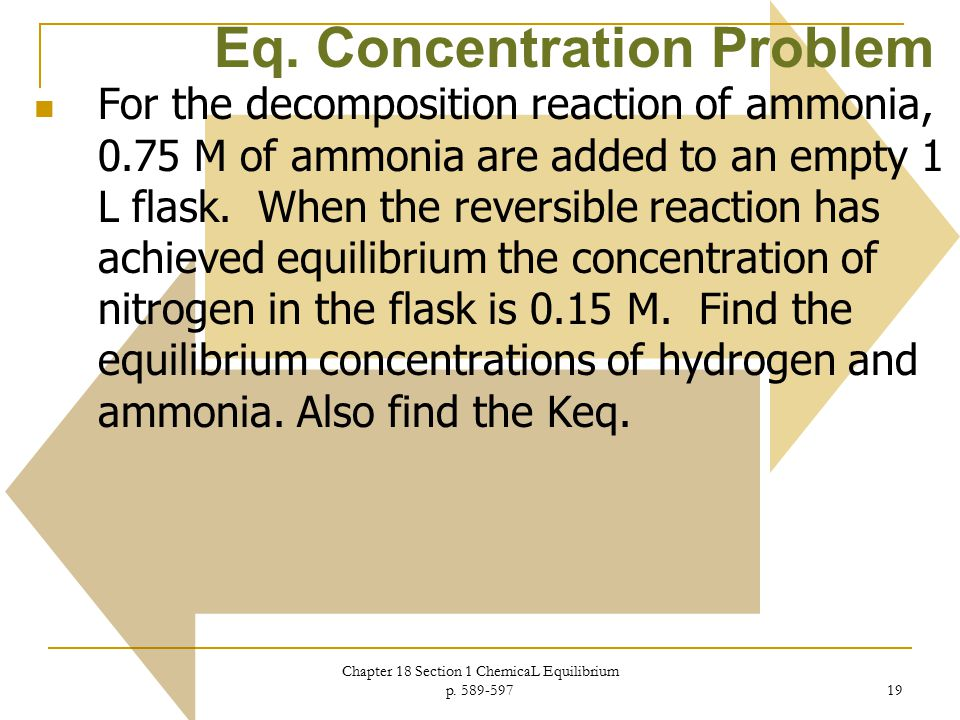 Chemical Equilibrium Chapter 18 Modern Chemistry Ppt Video Online. 19 Eq Concentration Problem. Worksheet. Ap Chemistry Worksheet Keq Questions At Mspartners.co