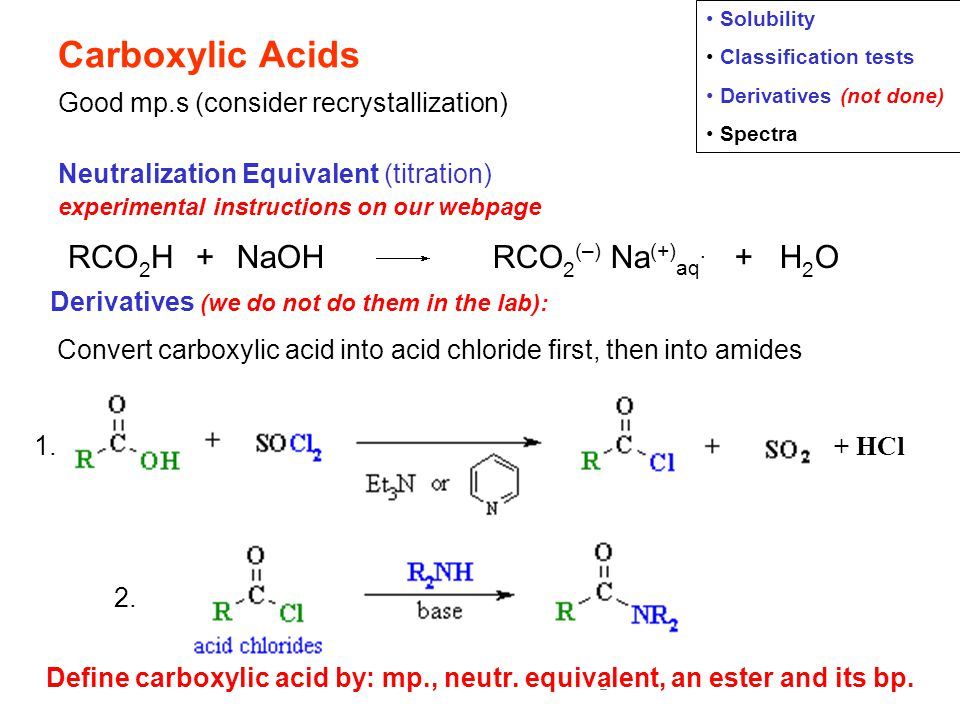 classification tests for carboxylic acid and Organic qualitative analysis laboratory report form  presence of a carboxylic acid (2) bromine water test –  classification tests were carried out the sodium .