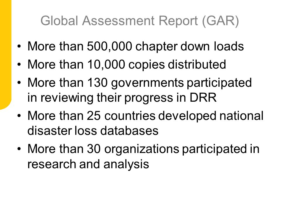Global Assessment Report (GAR)