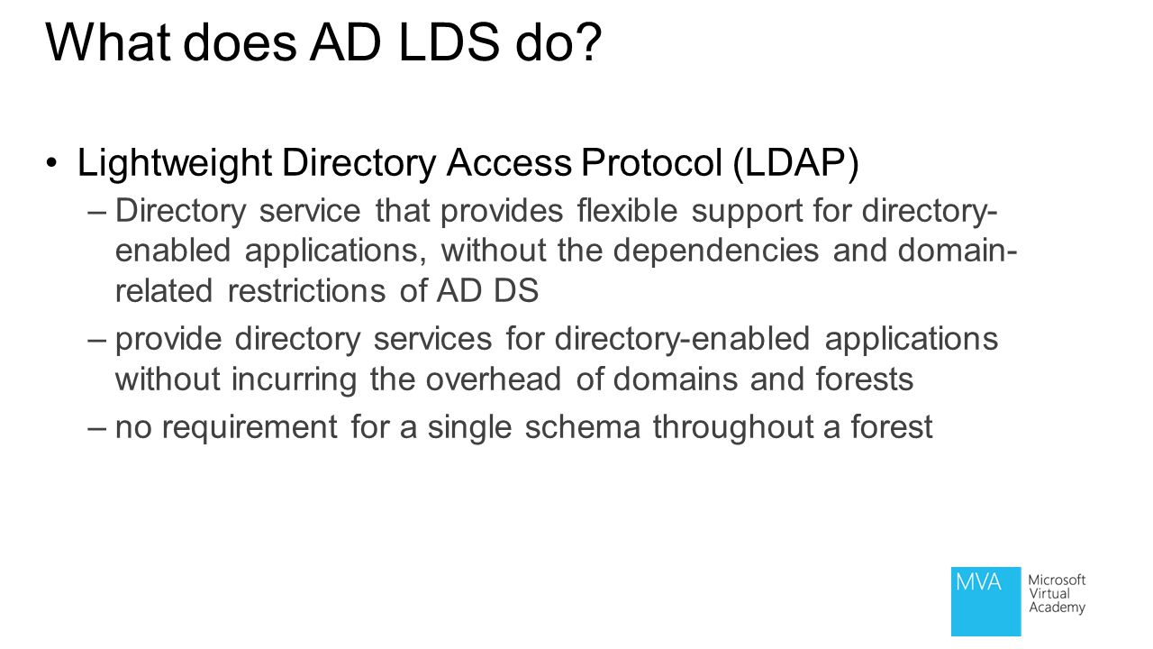 What does AD LDS do Lightweight Directory Access Protocol (LDAP)