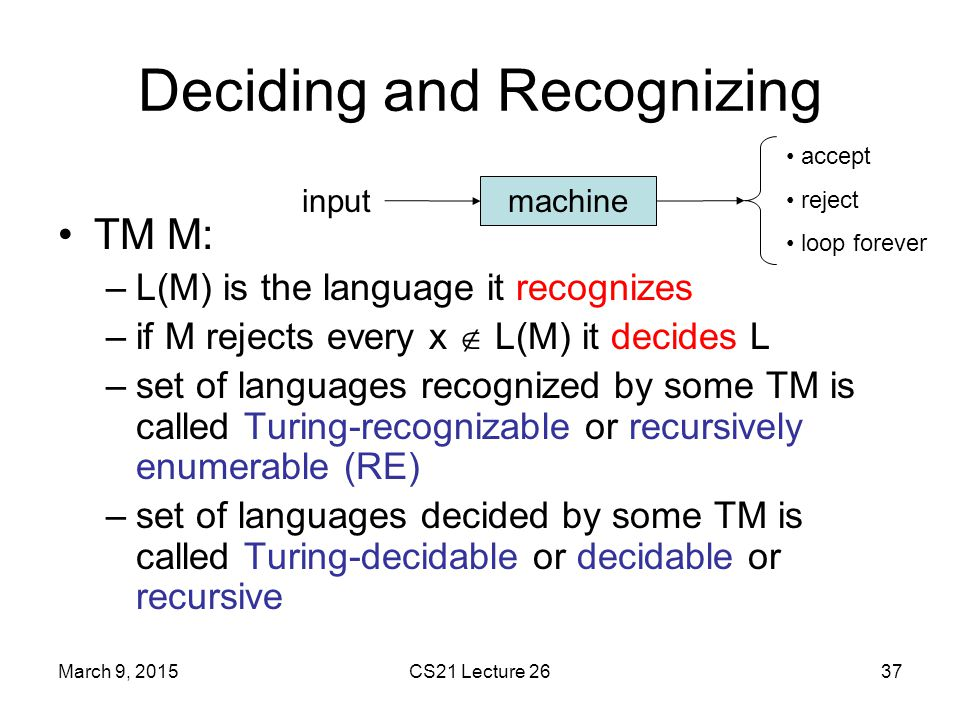 Deciding and Recognizing