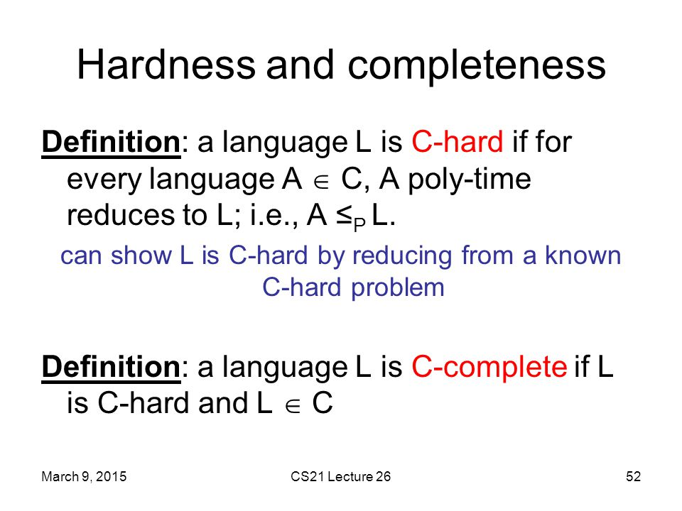 Hardness and completeness