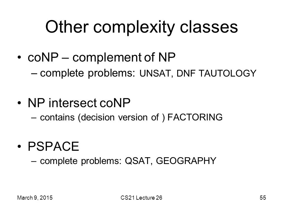 Other complexity classes