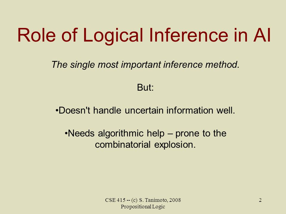 Role of Logical Inference in AI