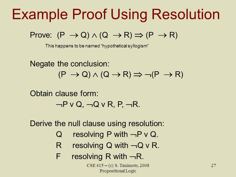 Example Proof Using Resolution