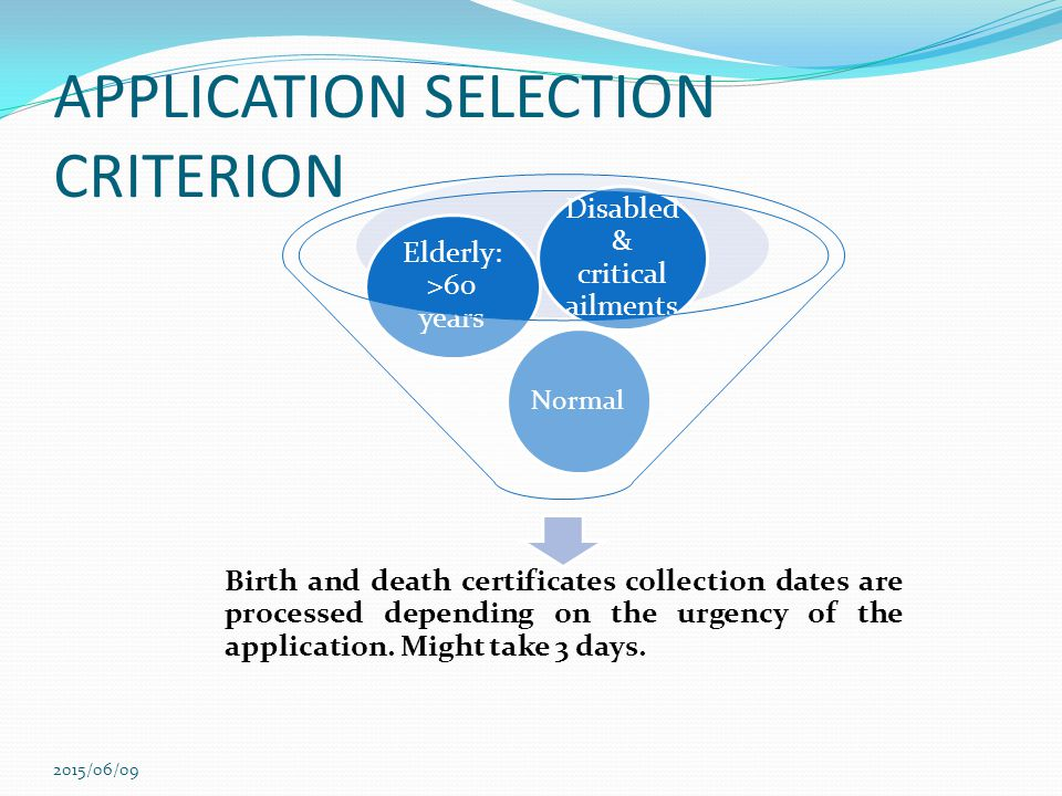 APPLICATION SELECTION CRITERION