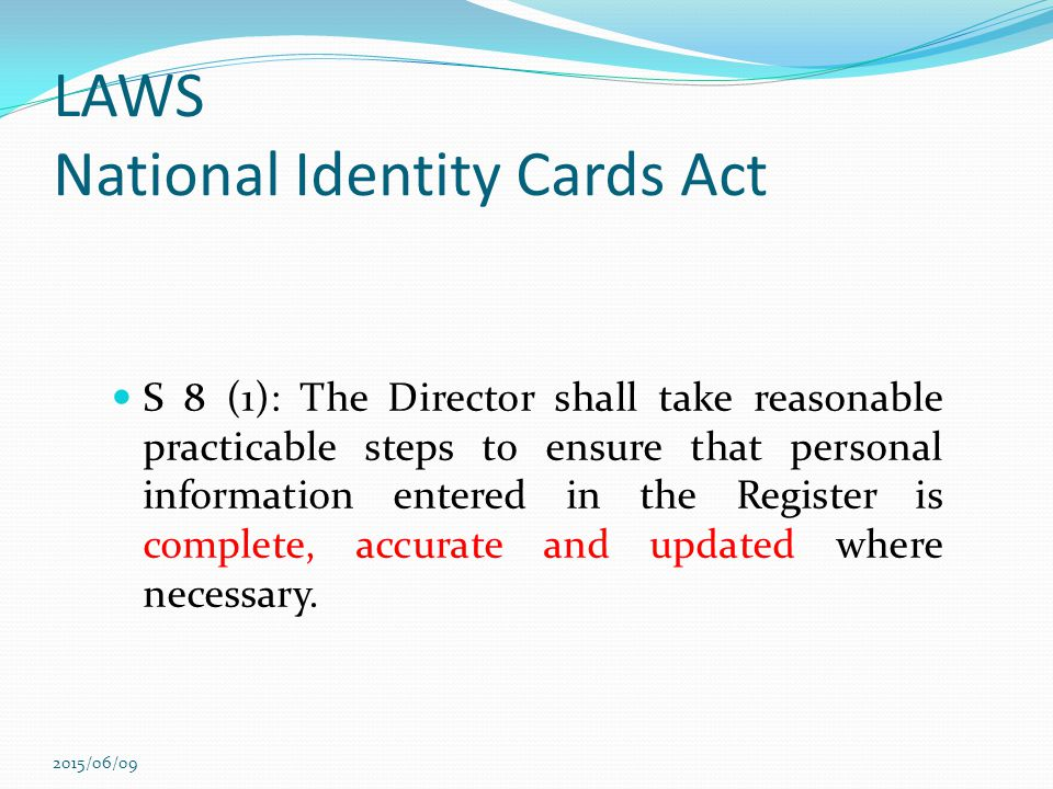 LAWS National Identity Cards Act