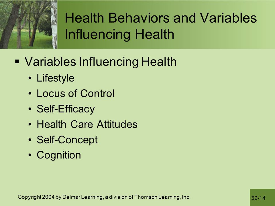 Health Behaviors and Variables Influencing Health