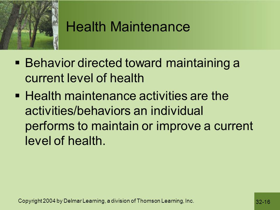 Health Maintenance Behavior directed toward maintaining a current level of health.