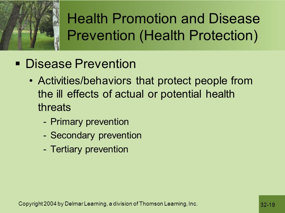 Health Promotion and Disease Prevention (Health Protection)
