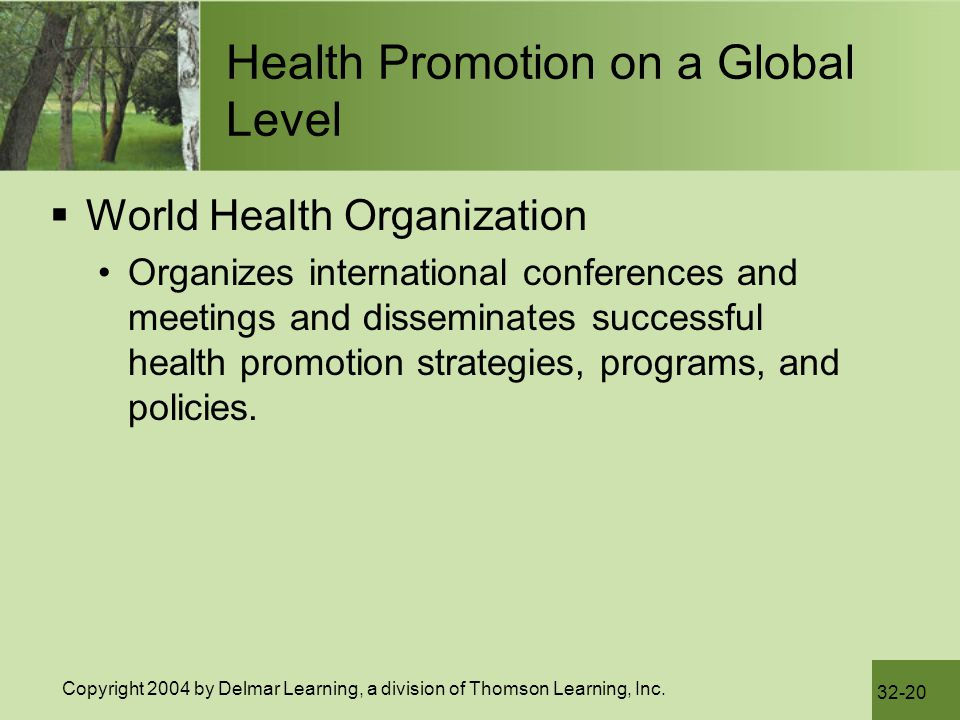 Health Promotion on a Global Level