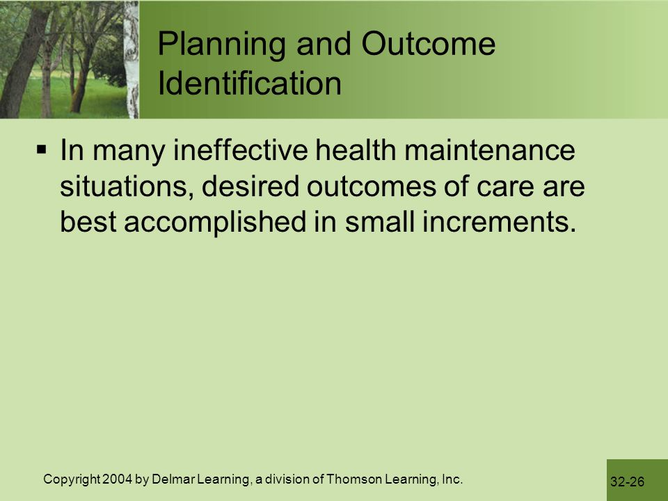 Planning and Outcome Identification