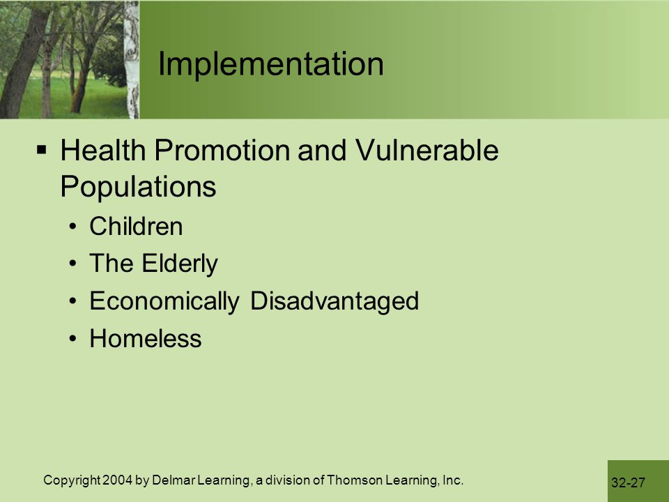Implementation Health Promotion and Vulnerable Populations Children