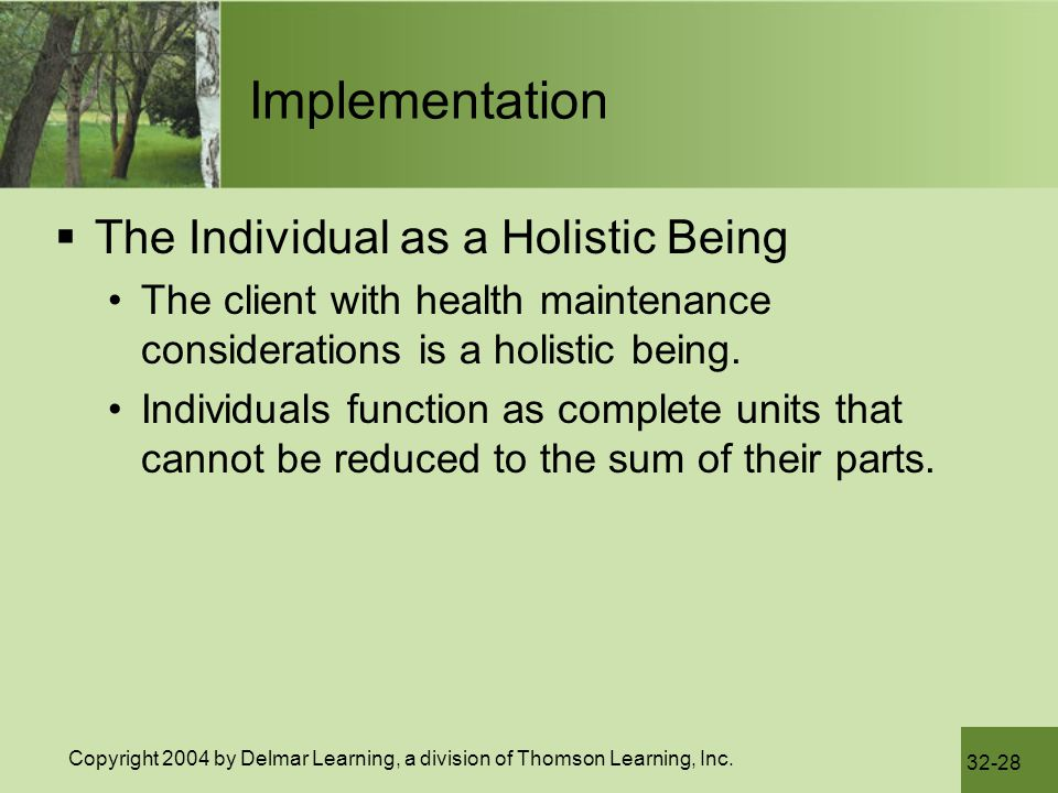 Implementation The Individual as a Holistic Being