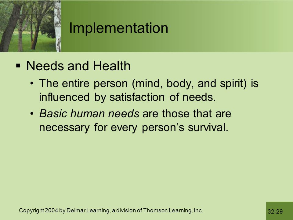 Implementation Needs and Health