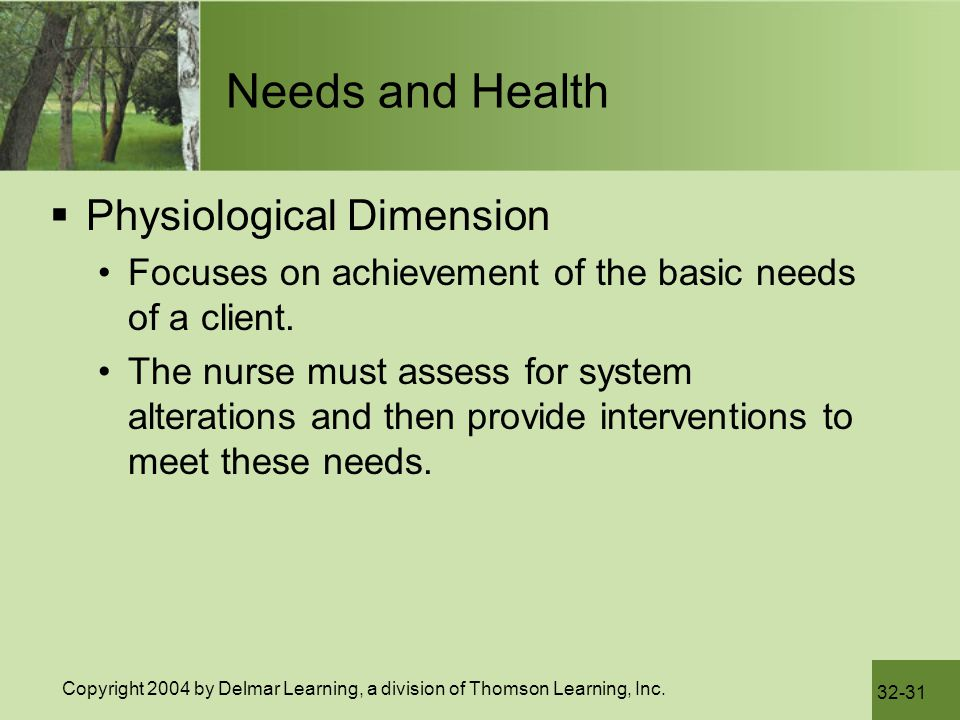 Needs and Health Physiological Dimension