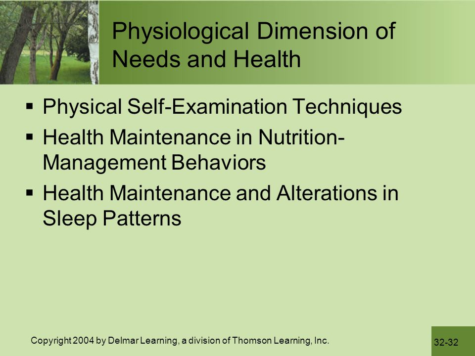 Physiological Dimension of Needs and Health