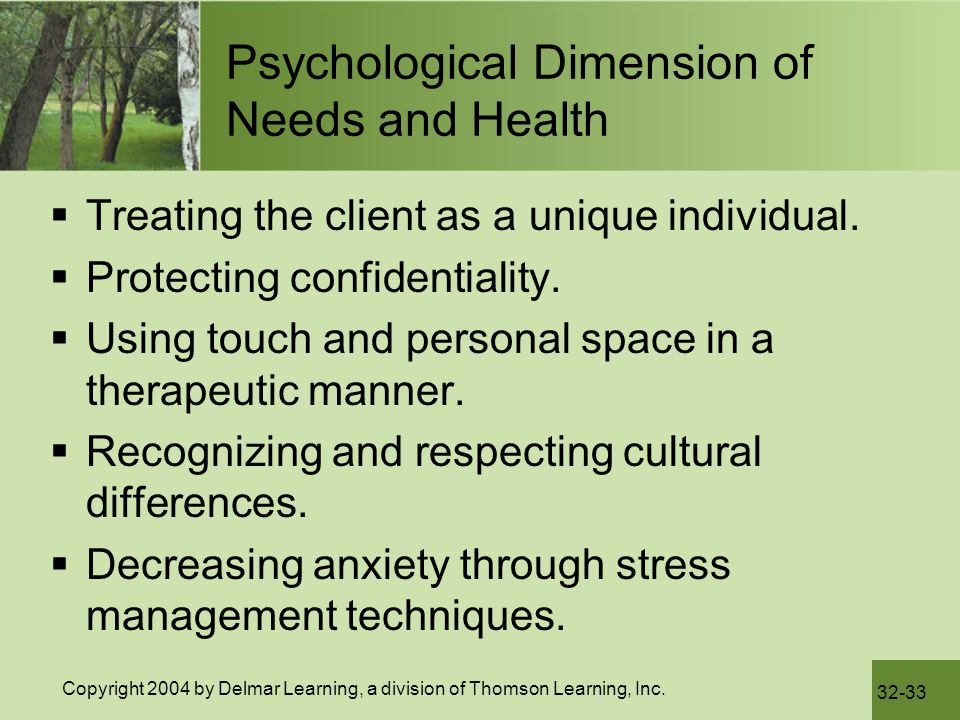 Psychological Dimension of Needs and Health