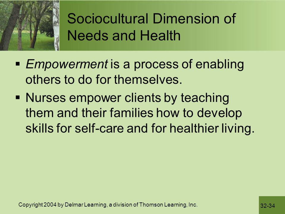 Sociocultural Dimension of Needs and Health