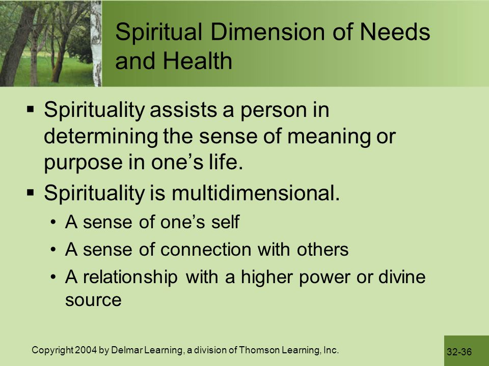 Spiritual Dimension of Needs and Health