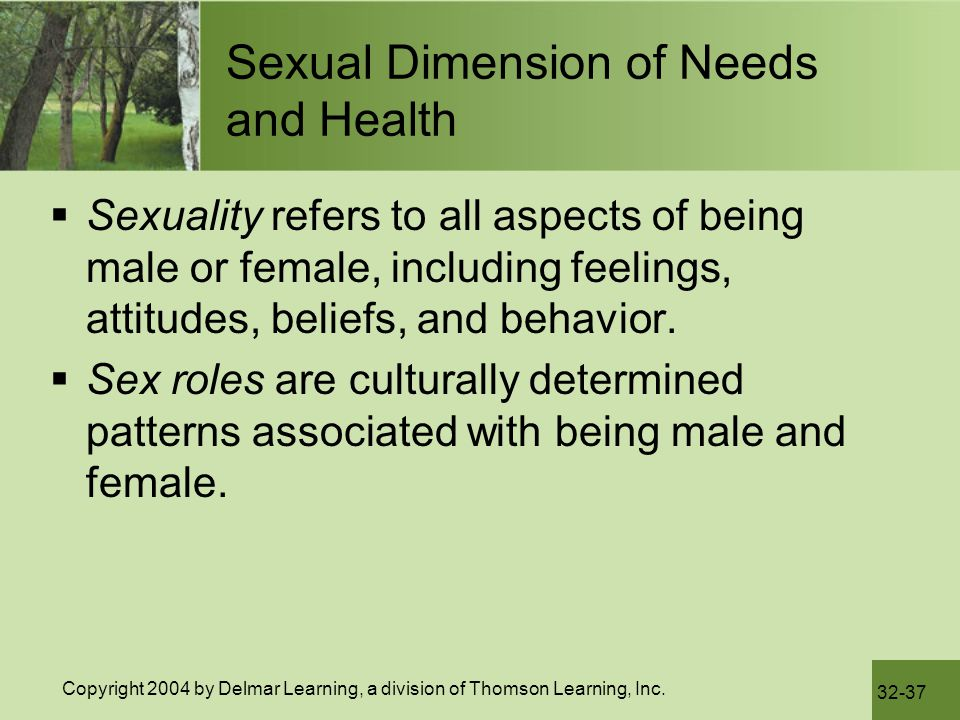 Sexual Dimension of Needs and Health