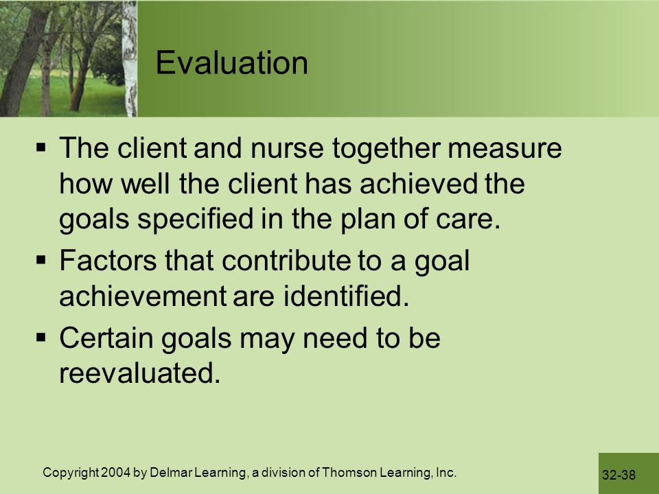 Evaluation The client and nurse together measure how well the client has achieved the goals specified in the plan of care.
