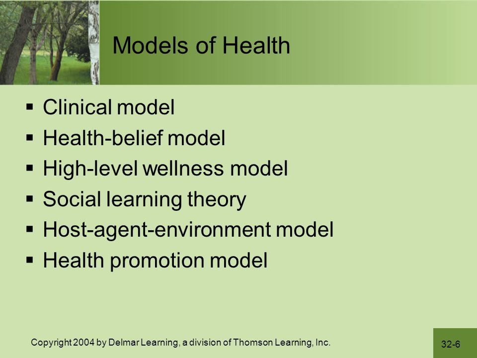 Models of Health Clinical model Health-belief model