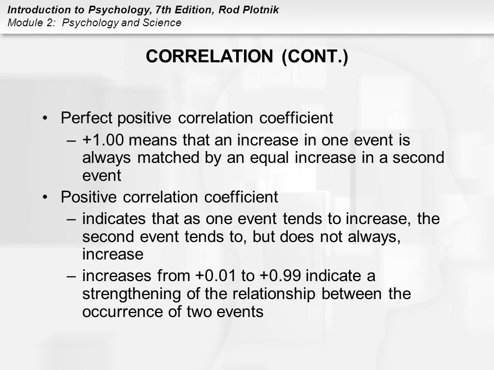 CORRELATION (CONT.) Perfect positive correlation coefficient