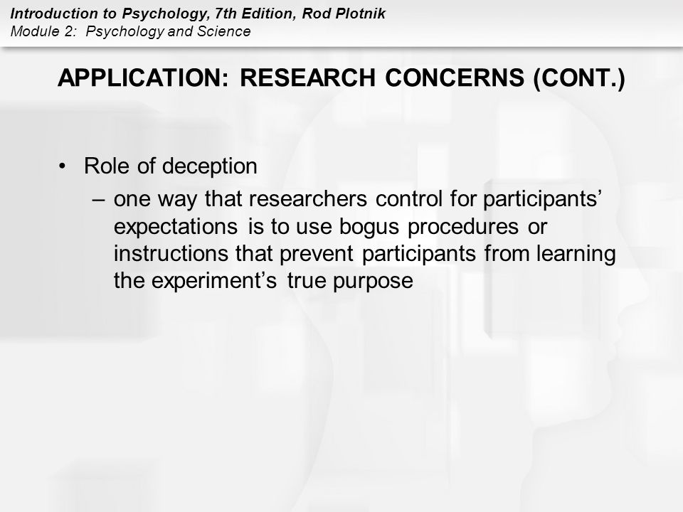 APPLICATION: RESEARCH CONCERNS (CONT.)