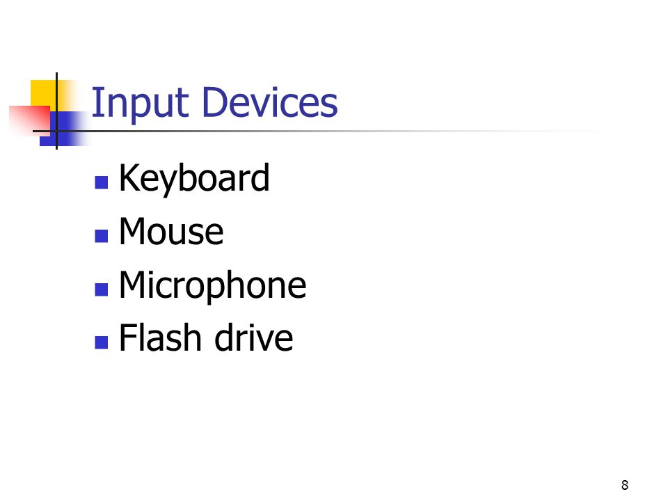 Input Devices Keyboard Mouse Microphone Flash drive