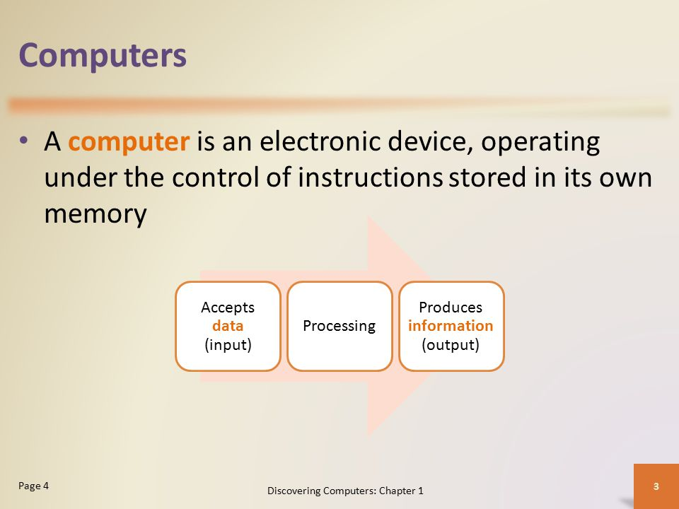 Computers A computer is an electronic device, operating under the control of instructions stored in its own memory.