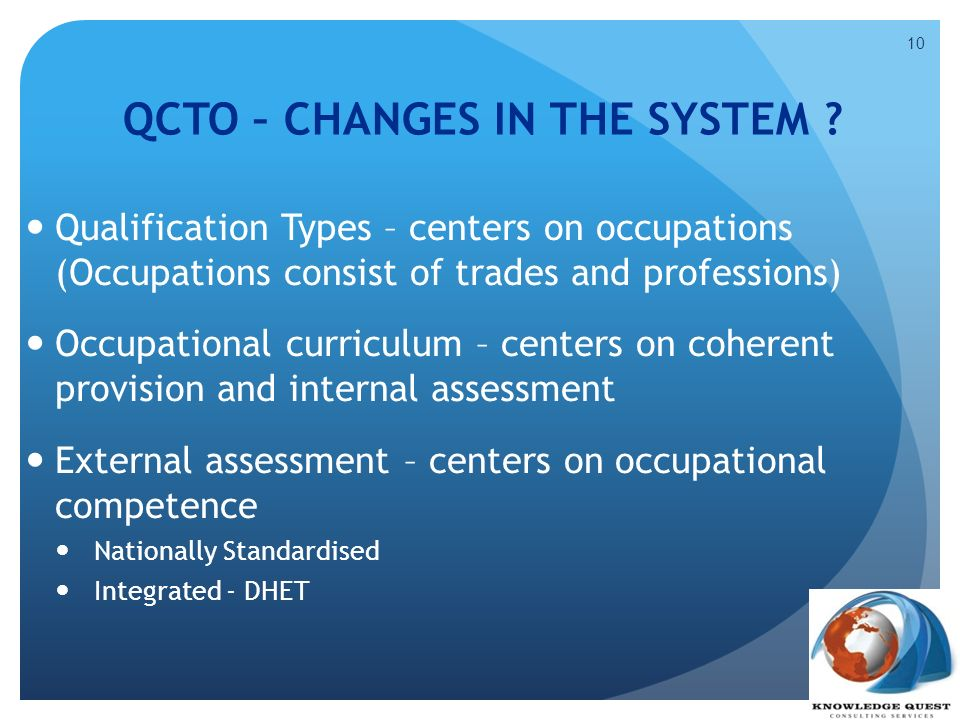 QCTO – CHANGES IN THE SYSTEM
