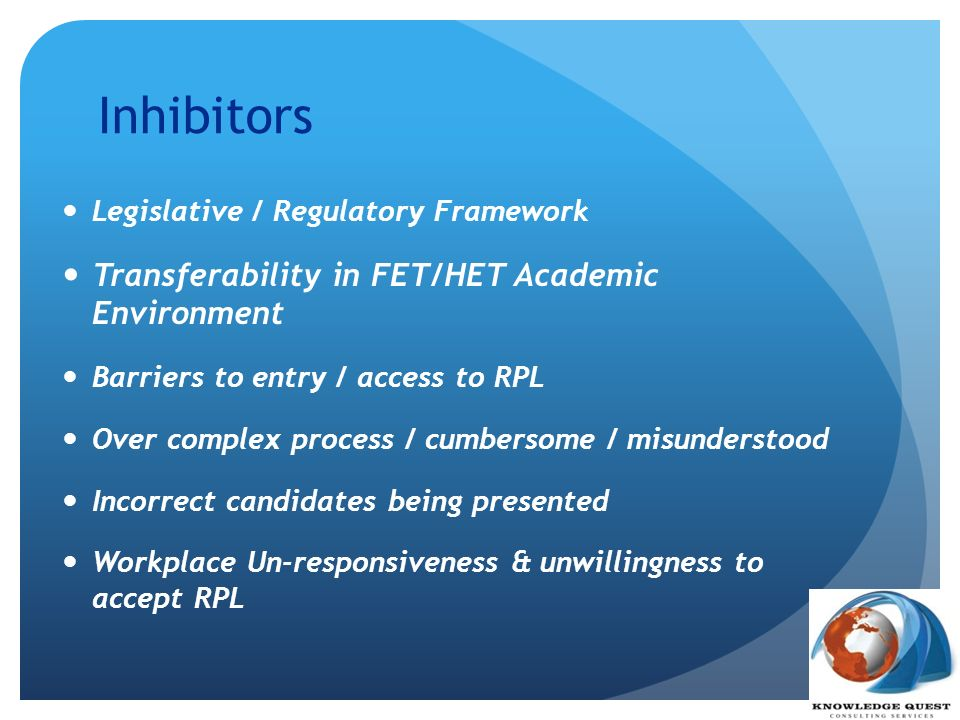 Inhibitors Transferability in FET/HET Academic Environment