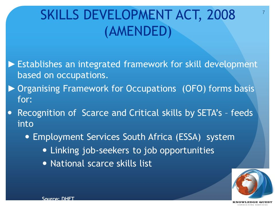 SKILLS DEVELOPMENT ACT, 2008 (AMENDED)