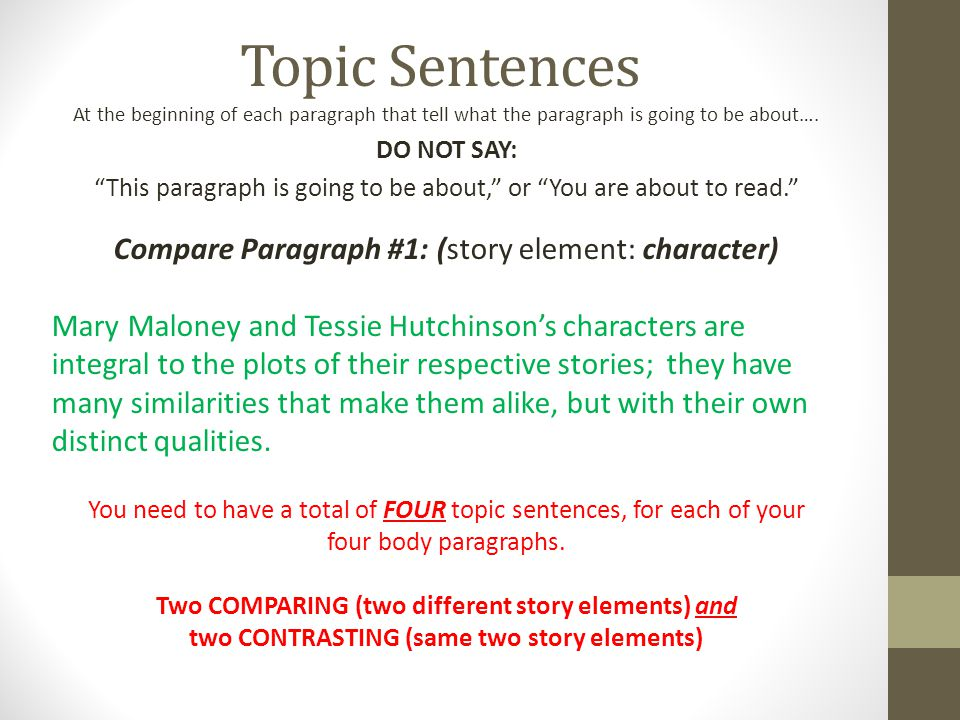 thesis comparing two stories