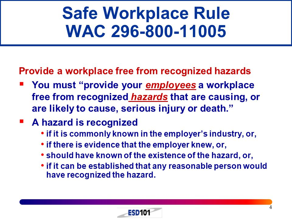 Safe Workplace Rule WAC